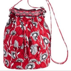 VERA BRADLEY Red Crossbody Shoulder Bucket Bag